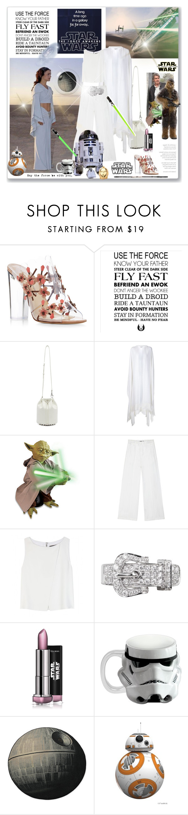 """May The Force Be With You"" by rever-de-paris ❤ liked on Polyvore featuring Episode, Paul Andrew, Alexander Wang, Ryan Roche, Disney, Alice + Olivia, Plukka, R2 and Vandor"