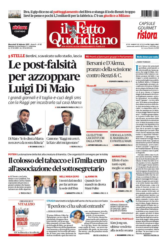 Il Fatto Quotidiano Prima Pagina di Oggi 15 Febbraio 2017