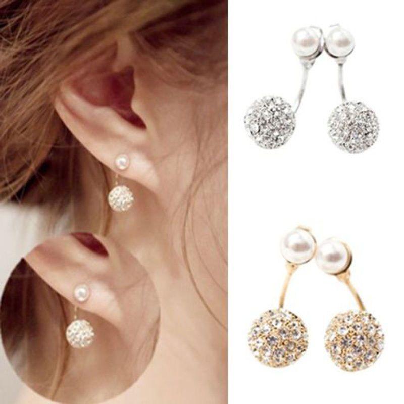 1 Pair Of Cute Compact Pearl Ear Stud Women Ladies Girls