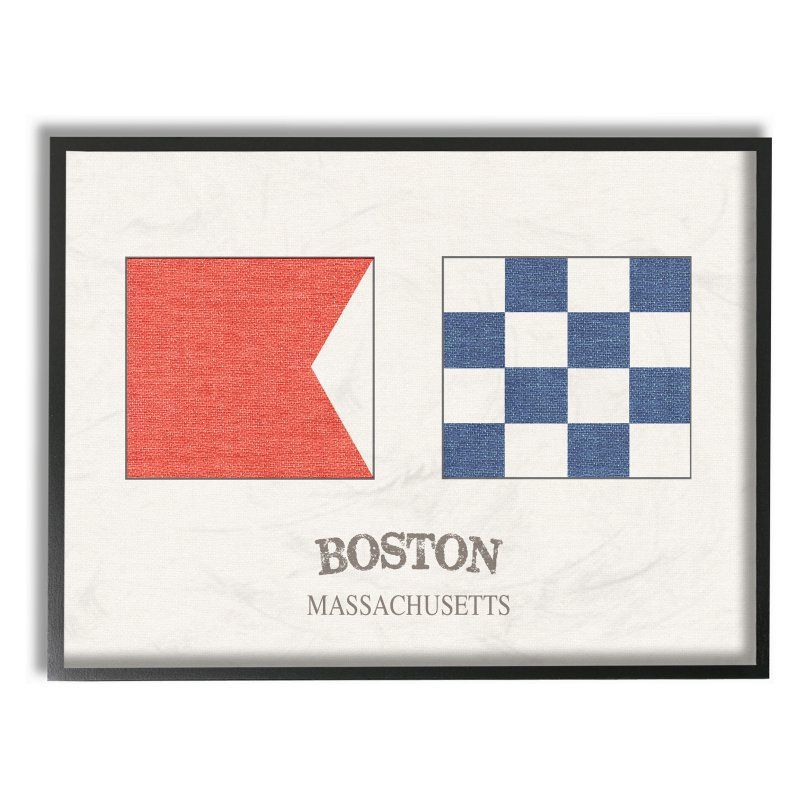 Stupell Decor Boston Nautical Flags Framed Wall Art - CW ...