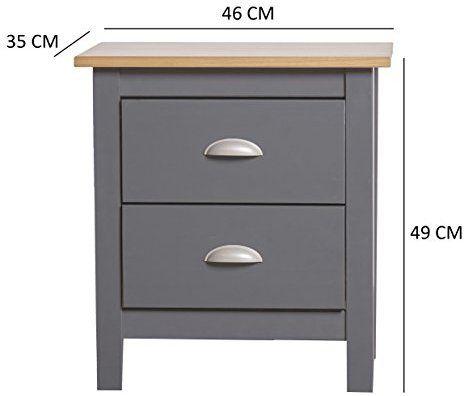 Mesita de noche de 2 cajones en gris roble for Amazon muebles terraza