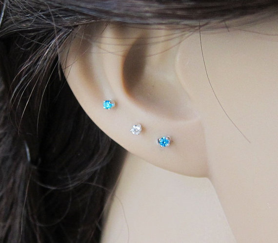 Sterling Silver Shire Stud Earrings Available In 12 Birthstone Plus Black And Bue Topaz Cartilage Earring September