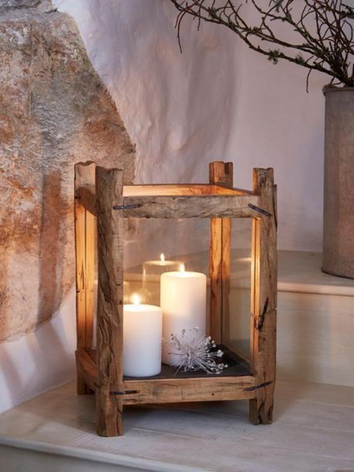 lanterne bougie originale vieux bois et verre