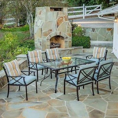 Outdoor Dining Set 7 Piece Deck Chairs Table Pool Garden Yard