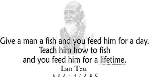 Presents lao tzu and his famous quote for Teach a man to fish