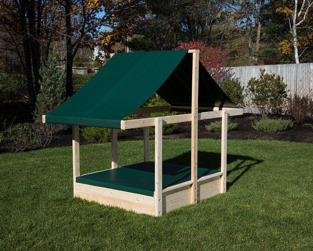 Cedar Sandbox With Sun Shade And Sand Cover