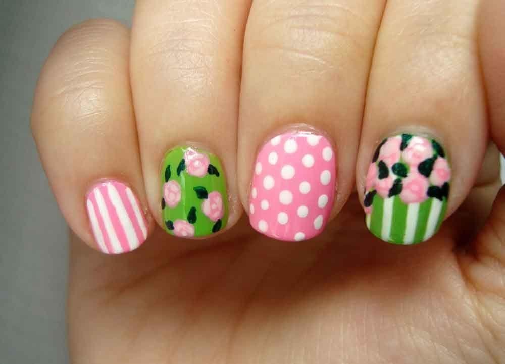 Diseño de uñas romático primavera: rosas & hojas / Romantic spring ...