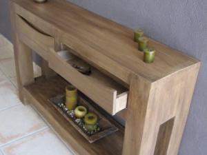 table console imitation bois tout en carton