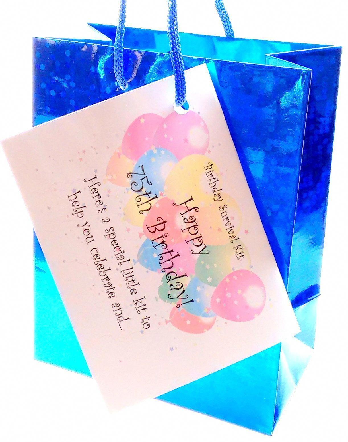 75th birthday survival kit giftcard fun present forhim