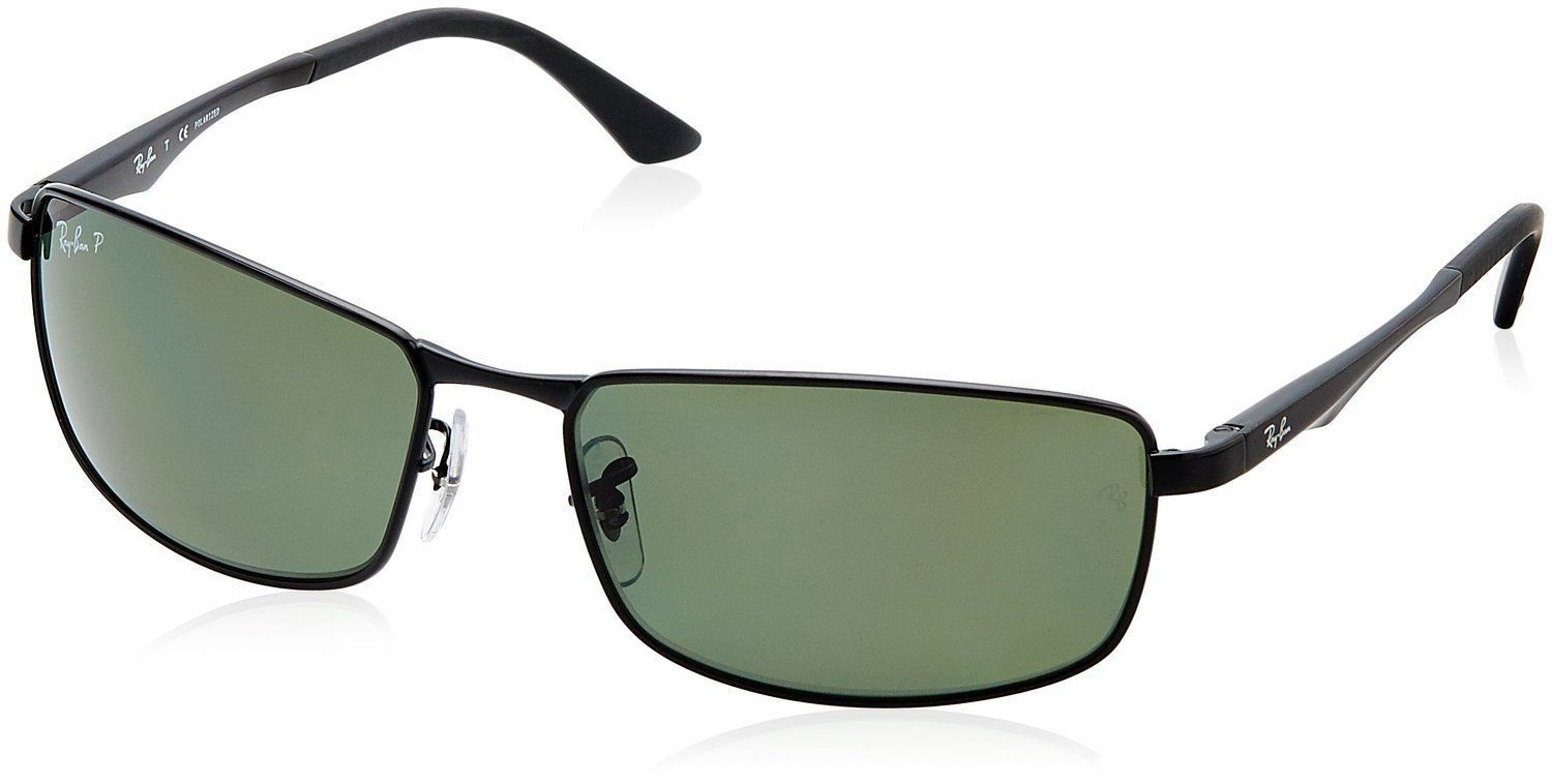 b302641135 Ray-Ban RB3498 002 9A Black Frame Polarized Green 64mm Lens Sunglasses