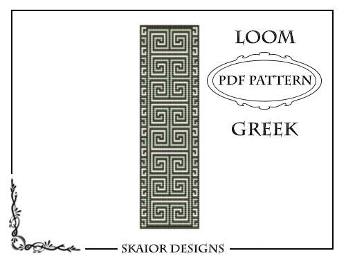 Loom Beading Pattern Loom Cuff Bracelet Greek Ornament by