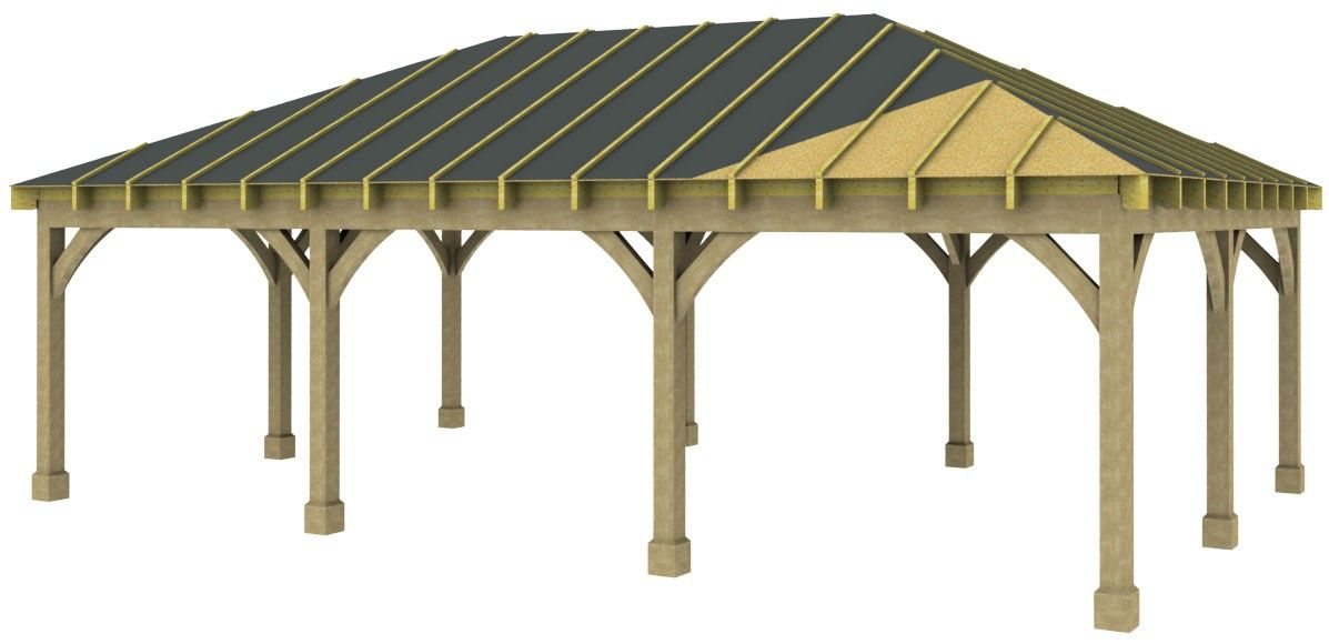 3 Bay Carport with Low Pitch Hipped Roof in 2020 Timber