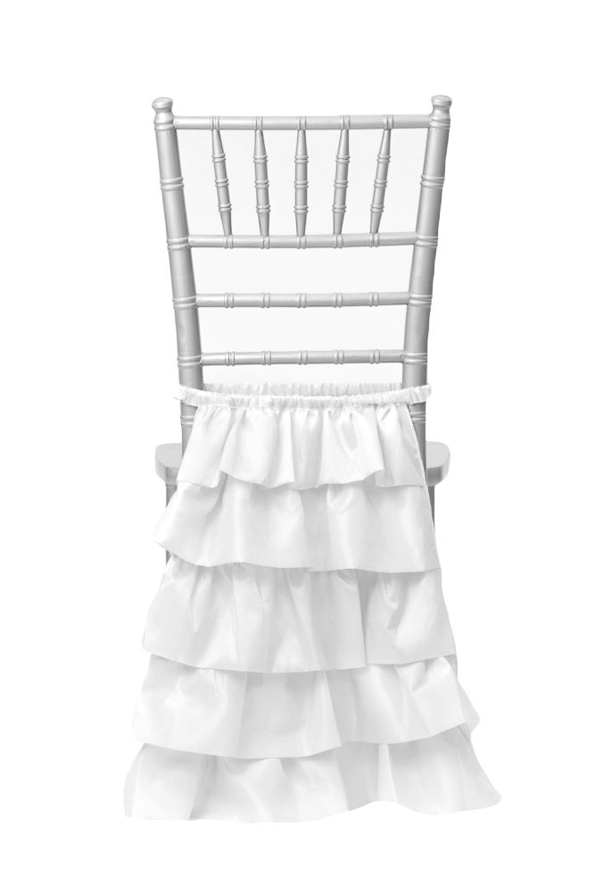 Layered Skirting Chair Back Cover - White