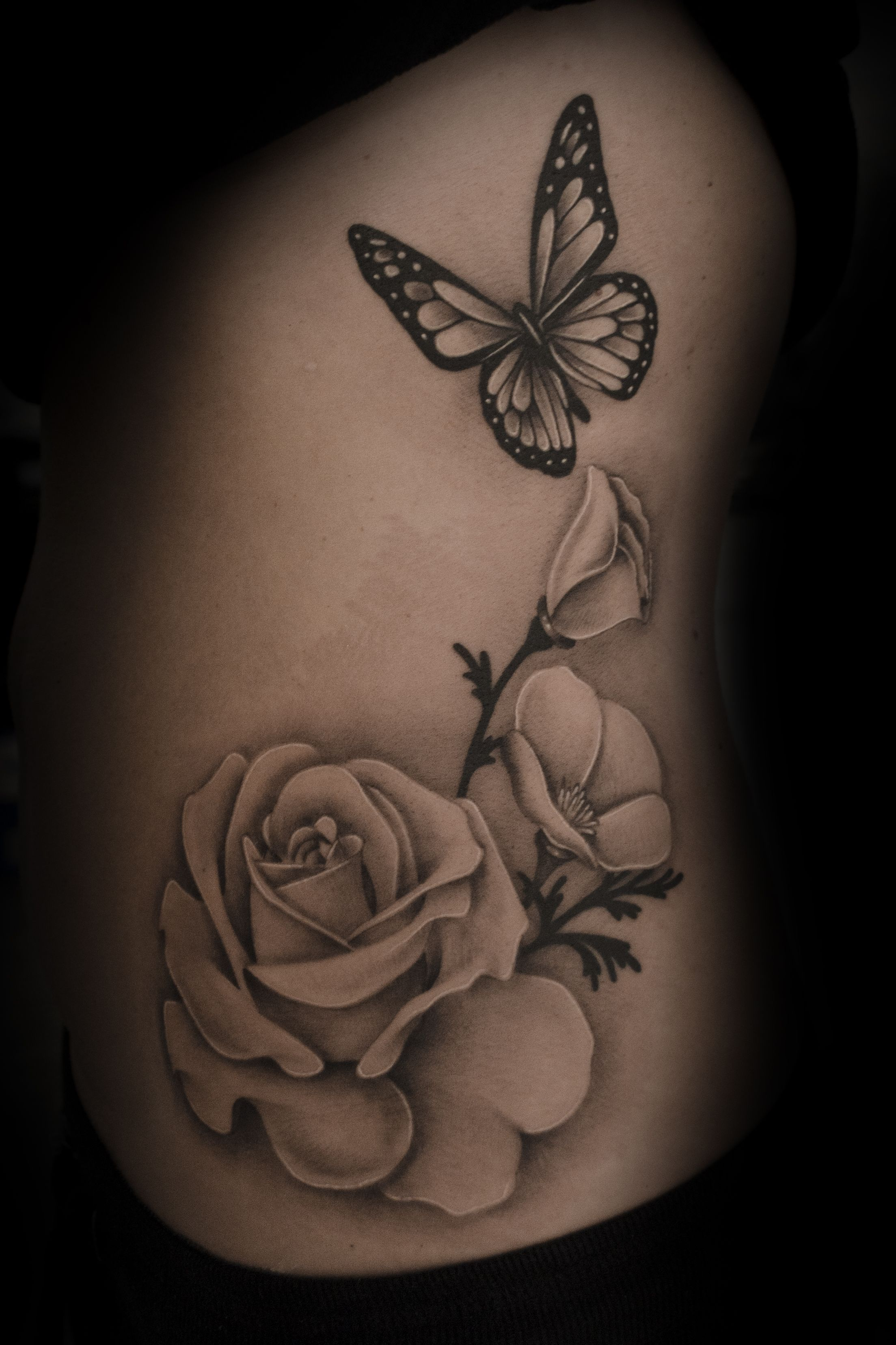 1a2f420e2 realistic butterfly flower tattoo - Google Search | Tattoos | Rose ...