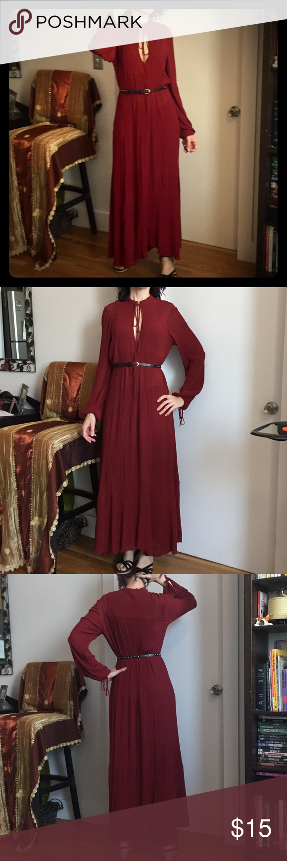 Zara woman studio red longsleeve maxi dress my posh closet