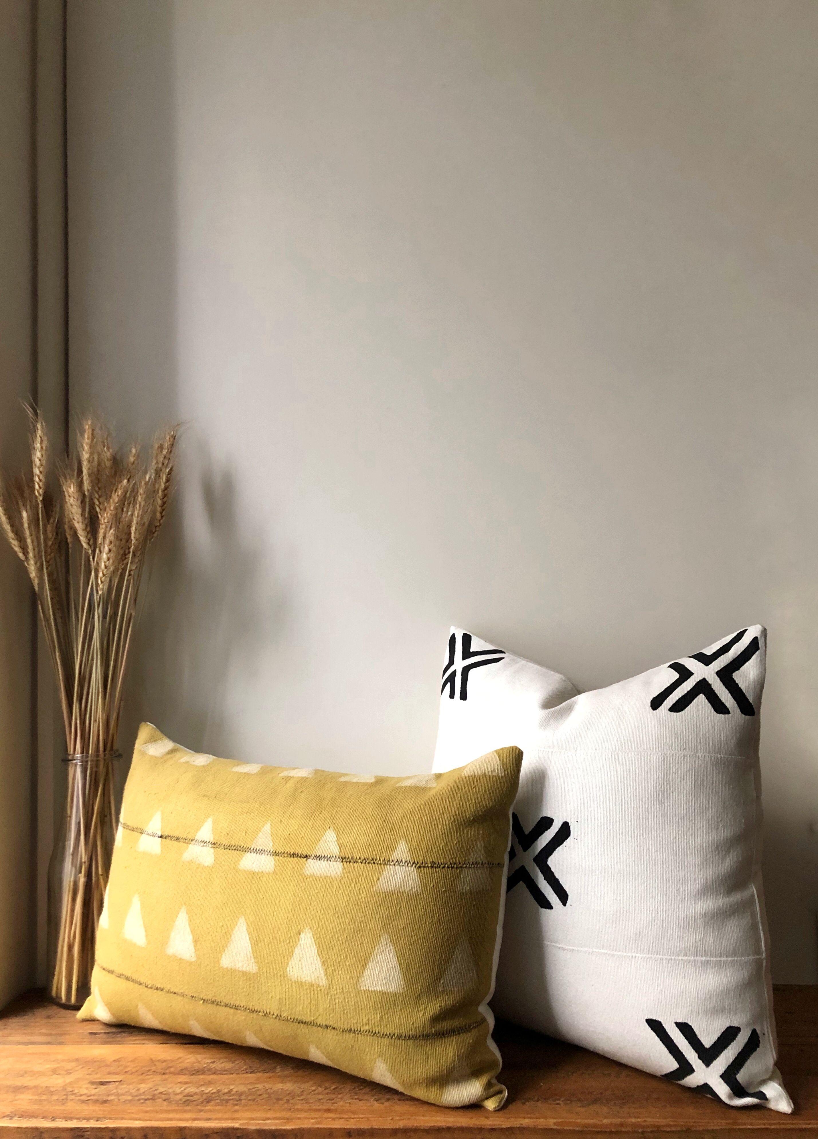 mustard mudcloth lumbar pillow