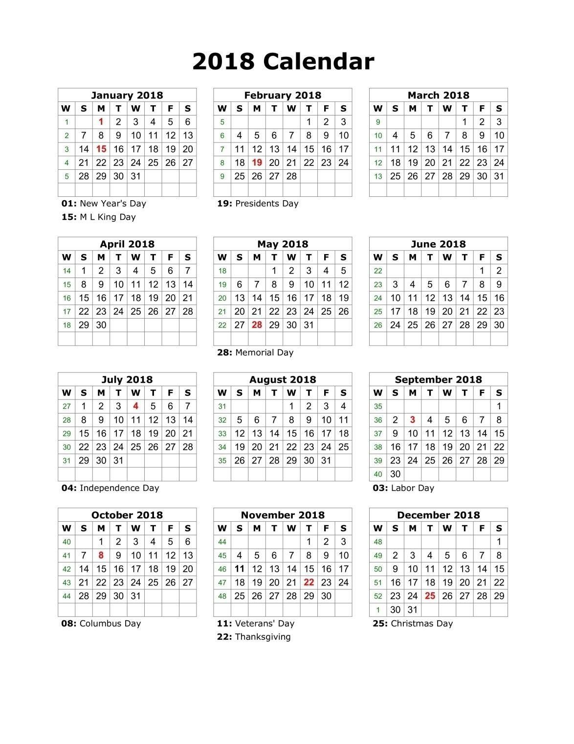 Free Printable Calendar With Usa Holidays