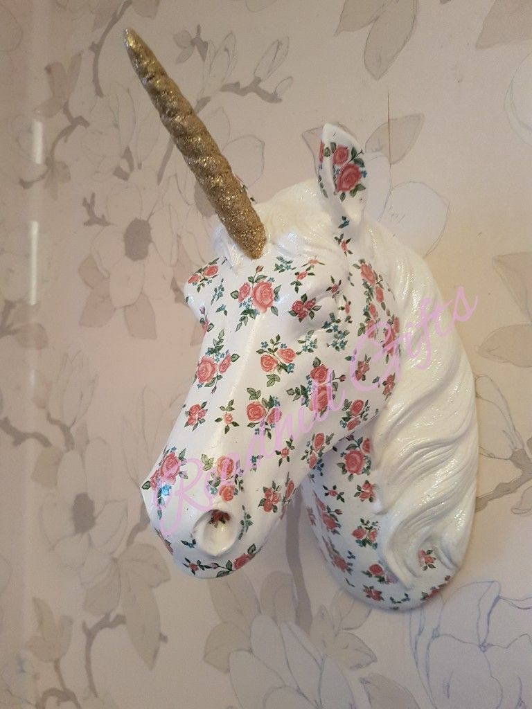 Decoupage unicorn trophy head
