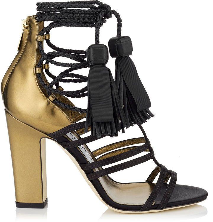 Jimmy choo Diamond 100 satin and leather sandals Y7H5CVXW