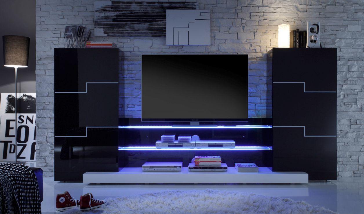 Wohnwand Schwarz Wohnwand Schwarz Hochglanz Wohnwand Led Tv Wandgestaltung