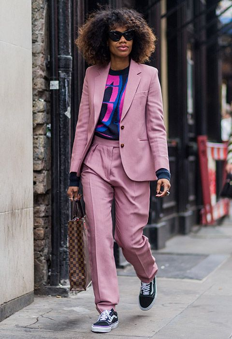 Proving once again that sneakers can do smart, too, Jan-Michael Quammie wears a candy-coloured suit and bold graphic tee for a relaxed feel (a shirt also works if you wanna up the fancy ante). Time for your white tennis shoes to retire