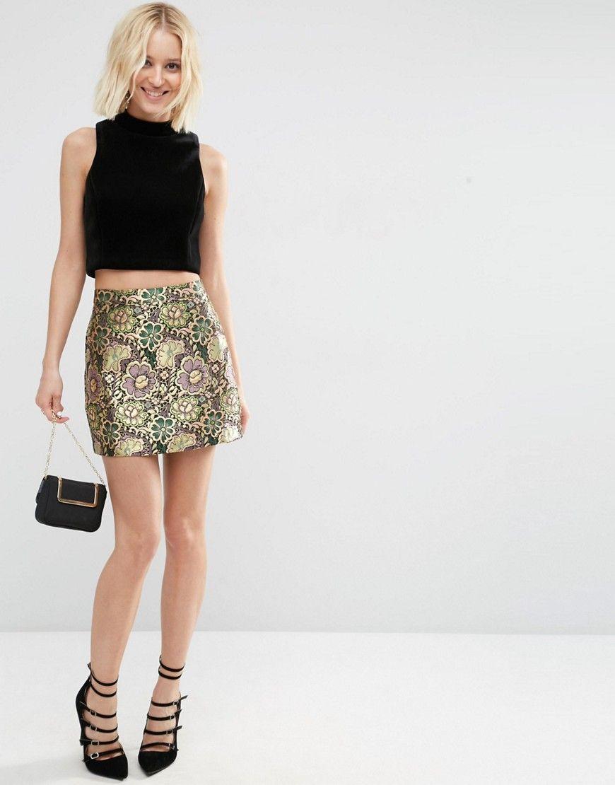 360461e6f238 ASOS Metallic Jacquard Mini Skirt saved by #ShoppingIS | Collections ...