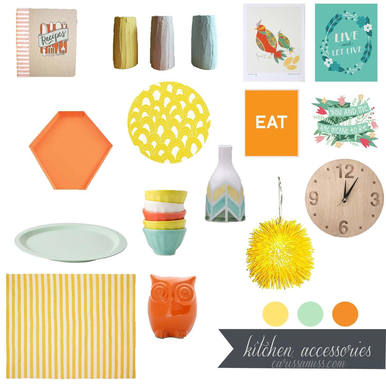 Mint Orange And Yellow Kitchen Accessories