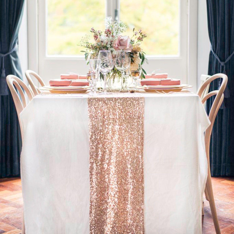 Rose Gold Sequin Table Runner Glitter Wedding Table Decor Etsy Rose Gold Table Rose Gold Bridal Shower Rose Gold Table Runner