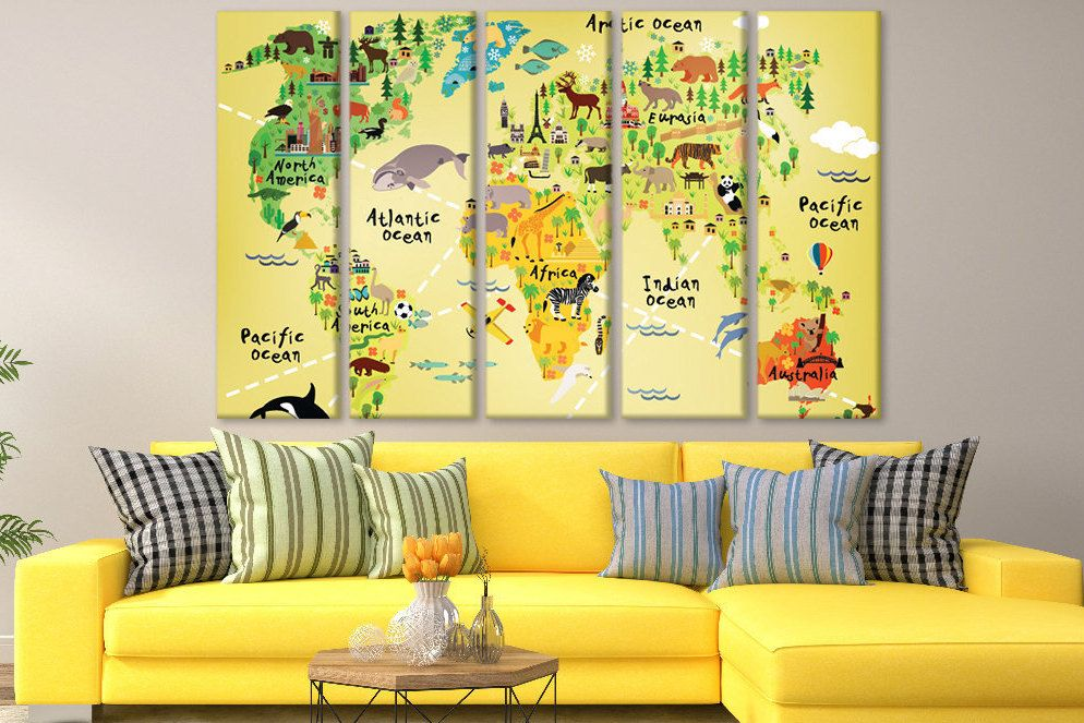 Nursery map wall art Kid wall map canvas World map child Yellow map ...