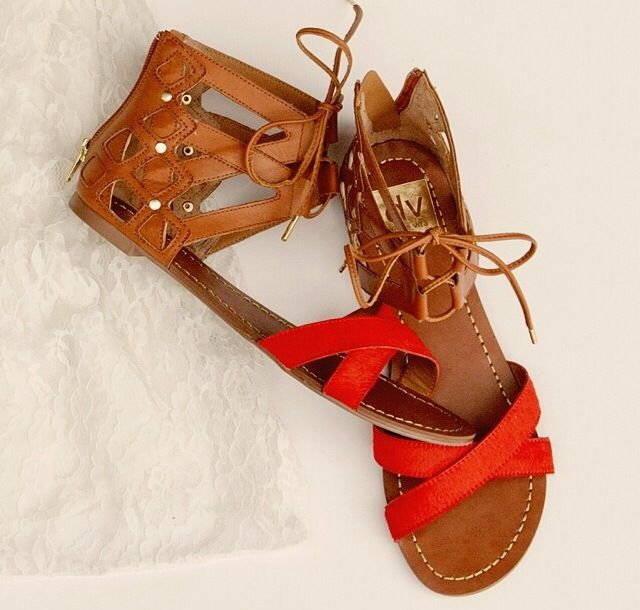 brown red sandals
