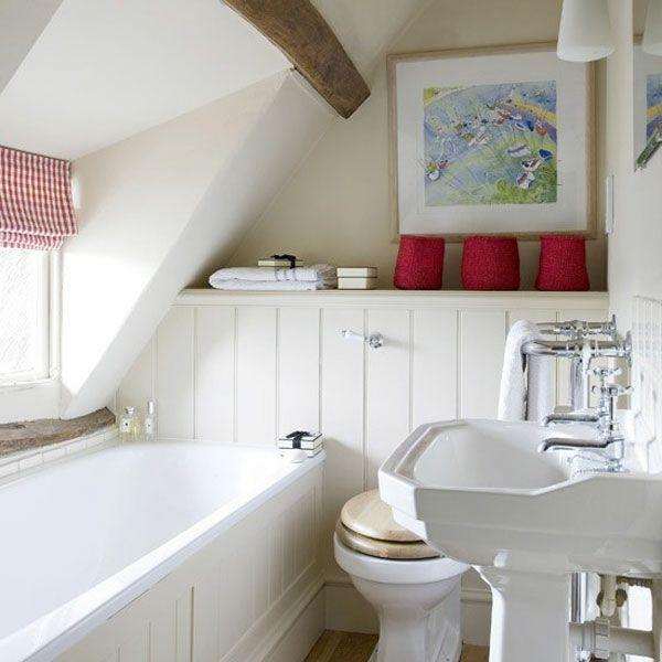 badezimmer gestalten - weiße farbtönung und rote akzente - 77 - ideen fürs badezimmer