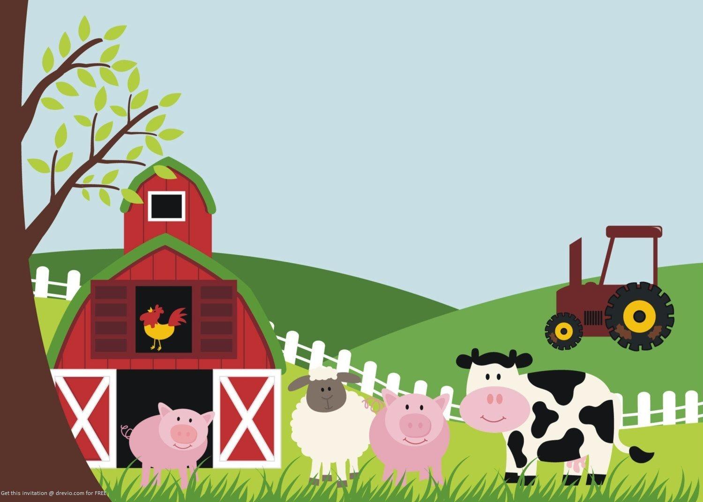Awesome FREE Printable Farm Animals Birthday Invitation Template