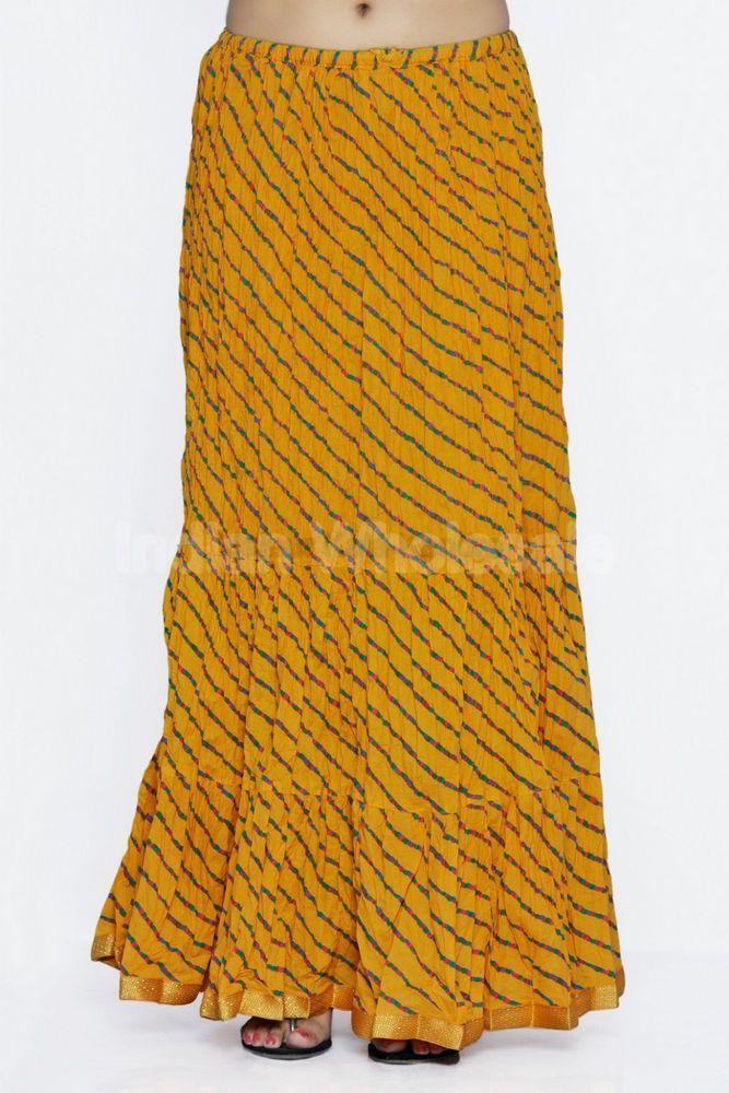 efb3802254 Women Cotton Rajasthani Lehariya Printed Long Yellow Color Long Skirt # Handmade #FullSkirt