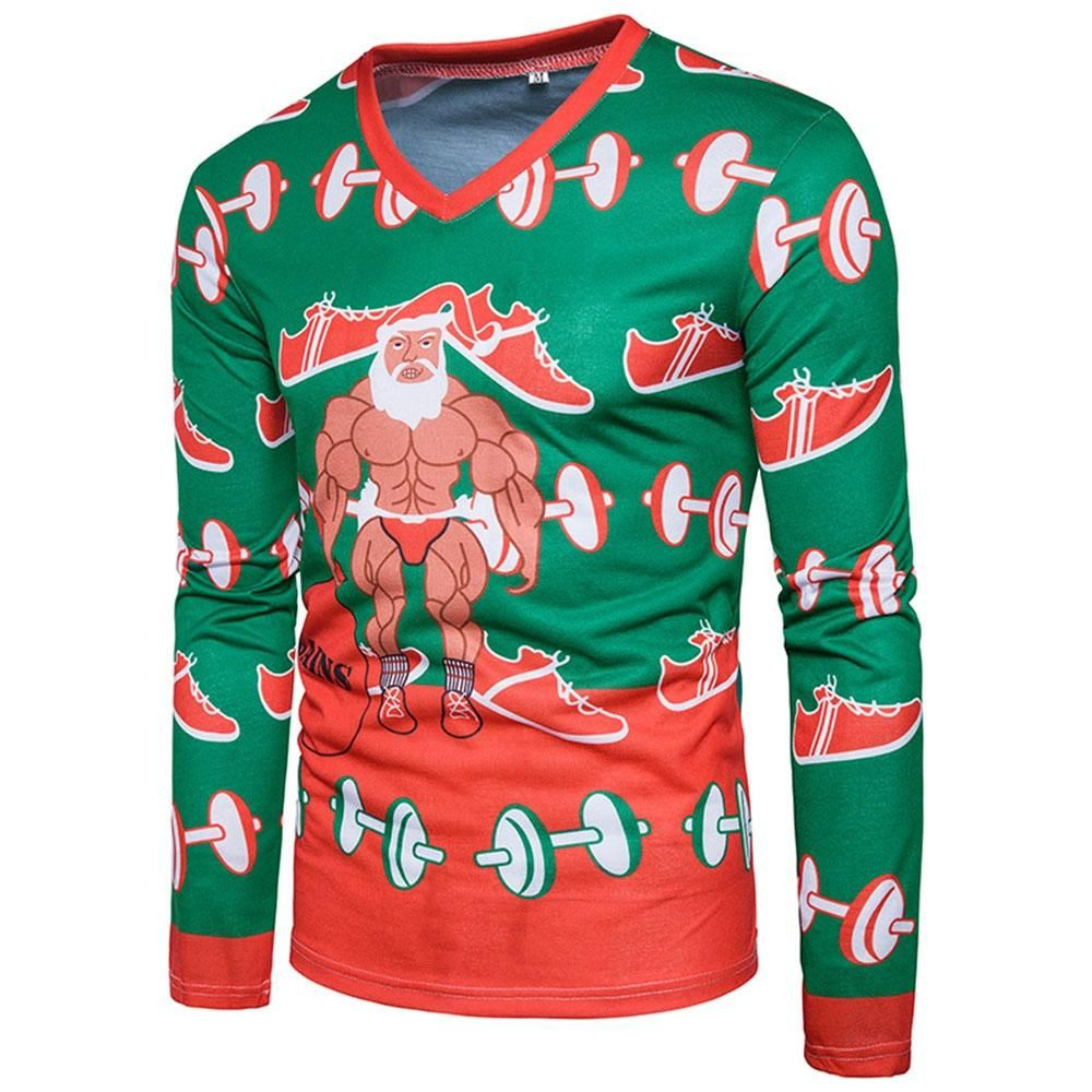 Men/'s Reindeer Christmas Sweater Camo Baseball Raglan T Shirt Xmas Santa Claus