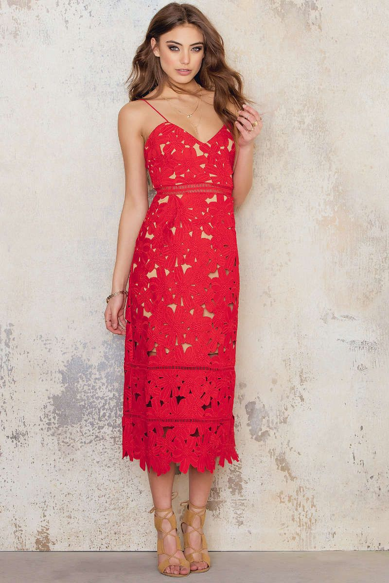 98b41c6bf31 Floral Crochet Midi Dress