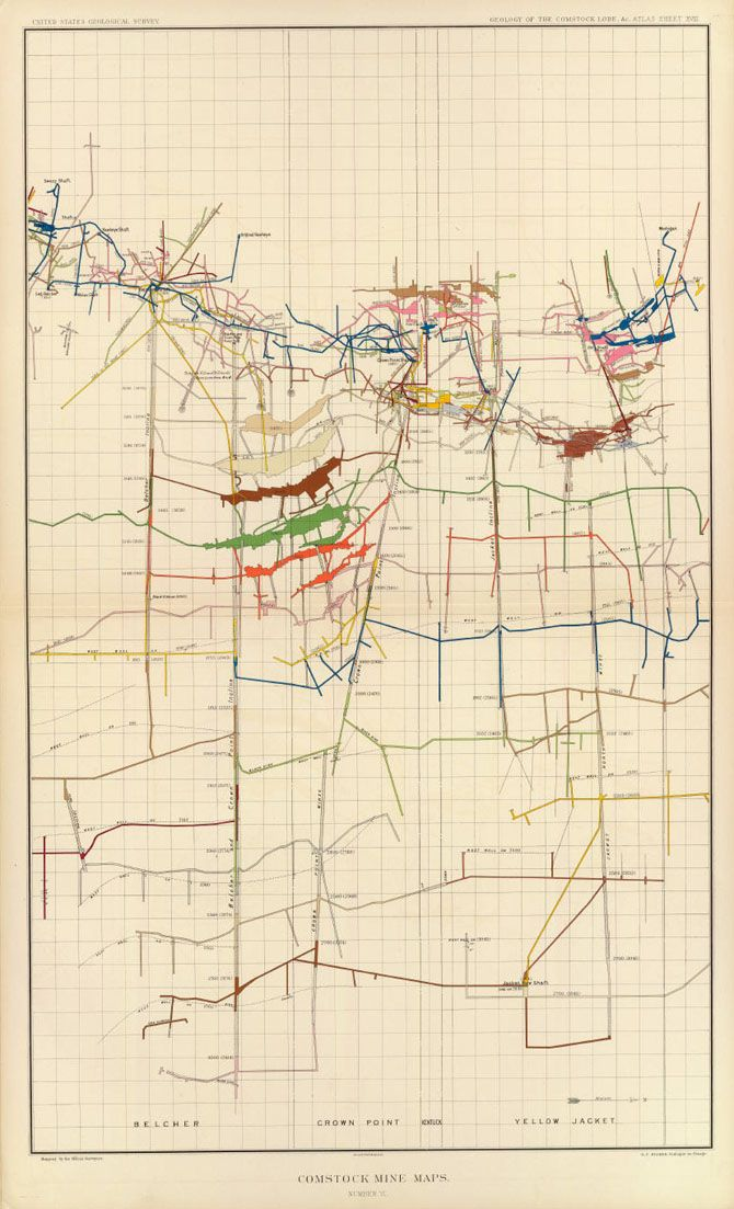 Us Geological Survey Maps Of The Shafts And Tunnels Of The - Us-geologic-survey-maps