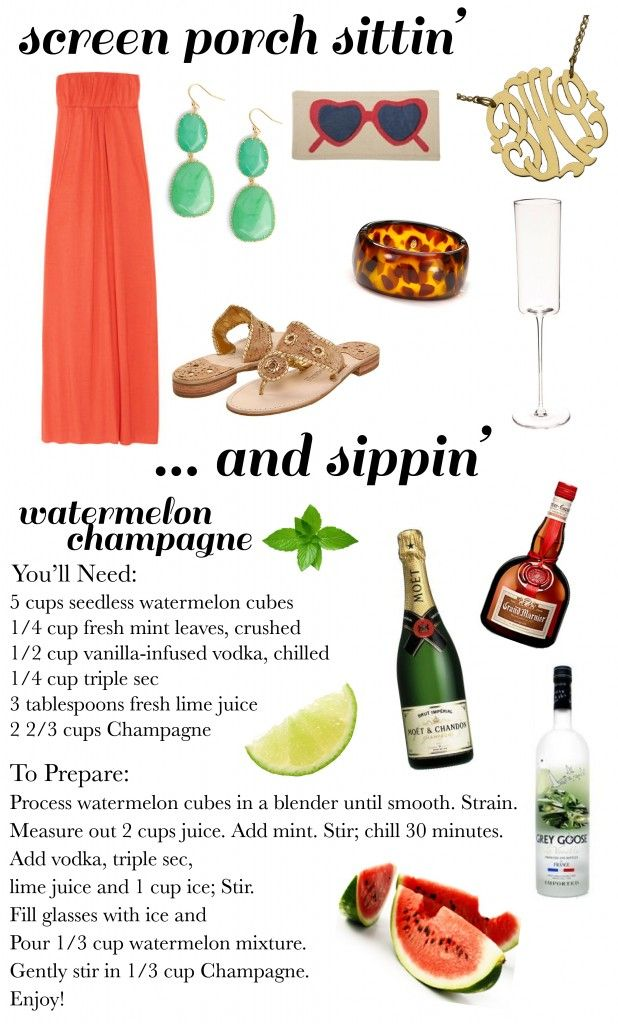 OK looks like I just found my new kick back drink for this weekend outfit and all... watermelon champagne.