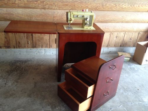 Vintage Sewing Machine Cabinet With Chair Stool Hideaway