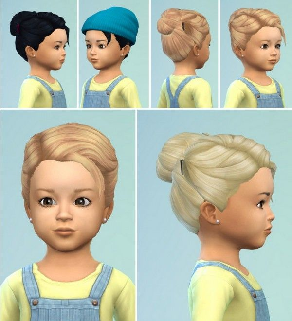 Birkschessimsblog Toddlers Hair Bun With Clips Sims 4 Downloads