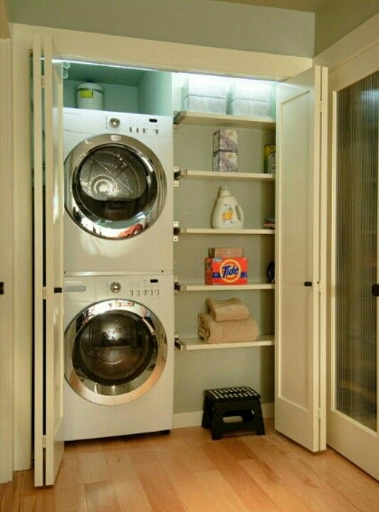 Pin By Khovete Panguene On House Vestment Ideas Small Laundry Space Small Laundry Rooms Laundry Closet