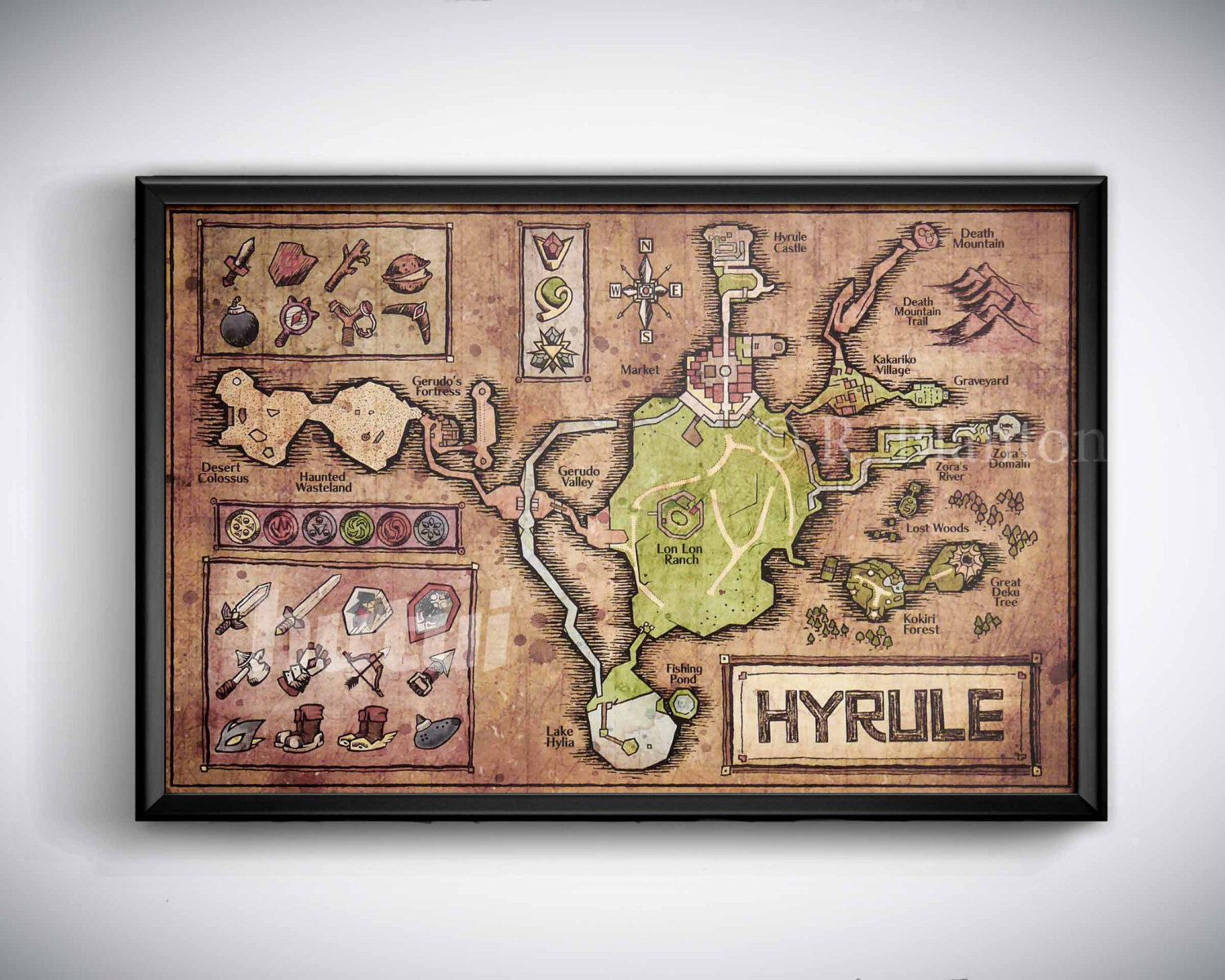 Map of hyrule from legend of zelda ocarina of time english or map of hyrule from legend of zelda ocarina of time english or hylian zelda map hyrule map or gumiabroncs