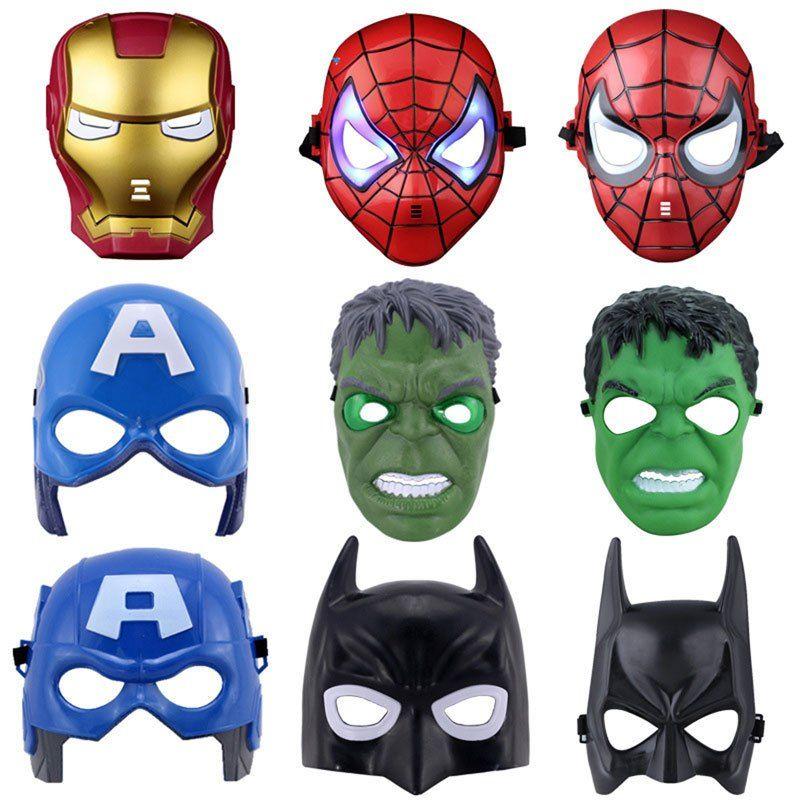 Super Heroes Hulk Batman Captain America Spiderman Iron Man Figures LED Mask Toy