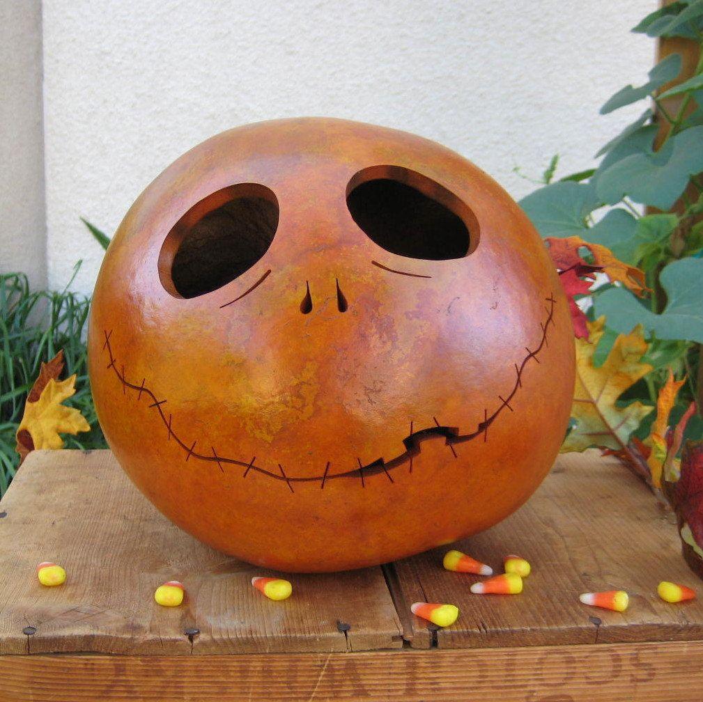 gourd halloween jack o lantern orange pumpkin carved spooky decoration inspired by tim - Tim Burton Halloween Decorations