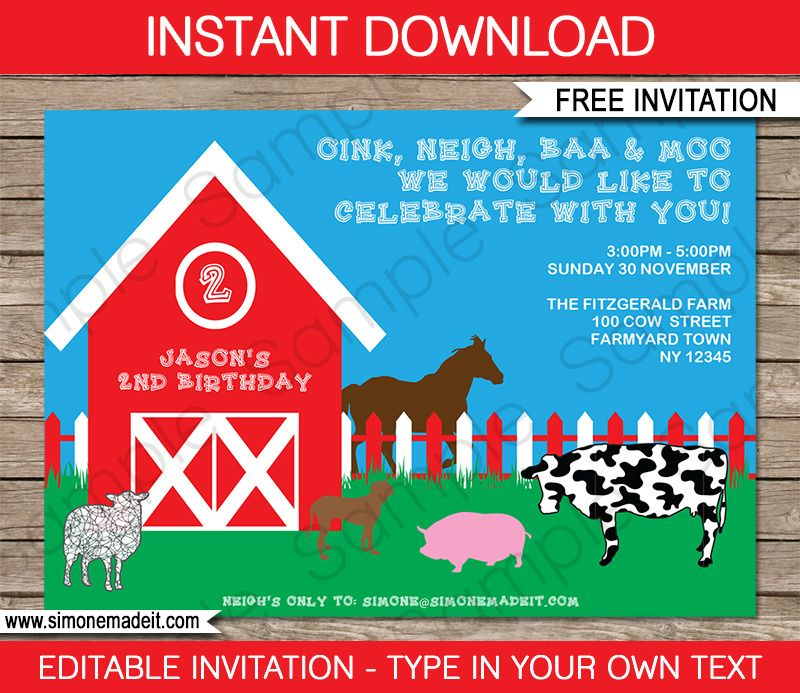Free Printable Barnyard Farm Invitation