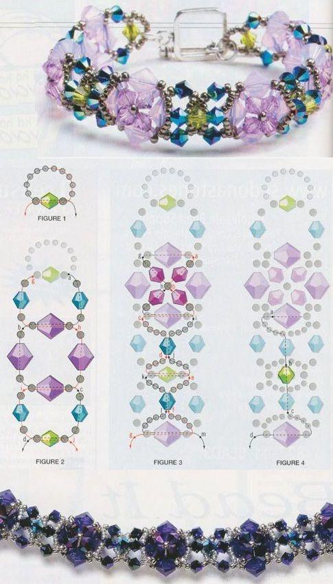 схема плетения браслета схемы и узоры Pinterest Beads