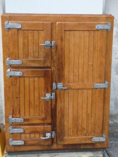Glaci re armoire frigorifique vintage le bois - Meuble glaciere bois ...