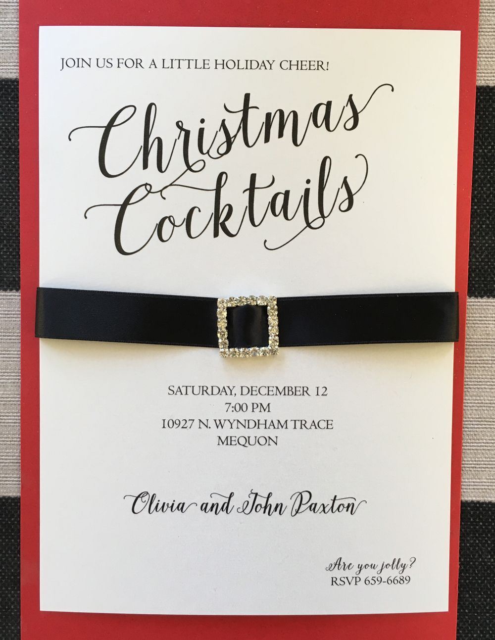 Gorgeous custom Christmas party invitation designed with rhinestone ...