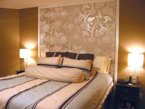 O Golden Bedroom With A Wallpaper Headboard Bedroom Ideas