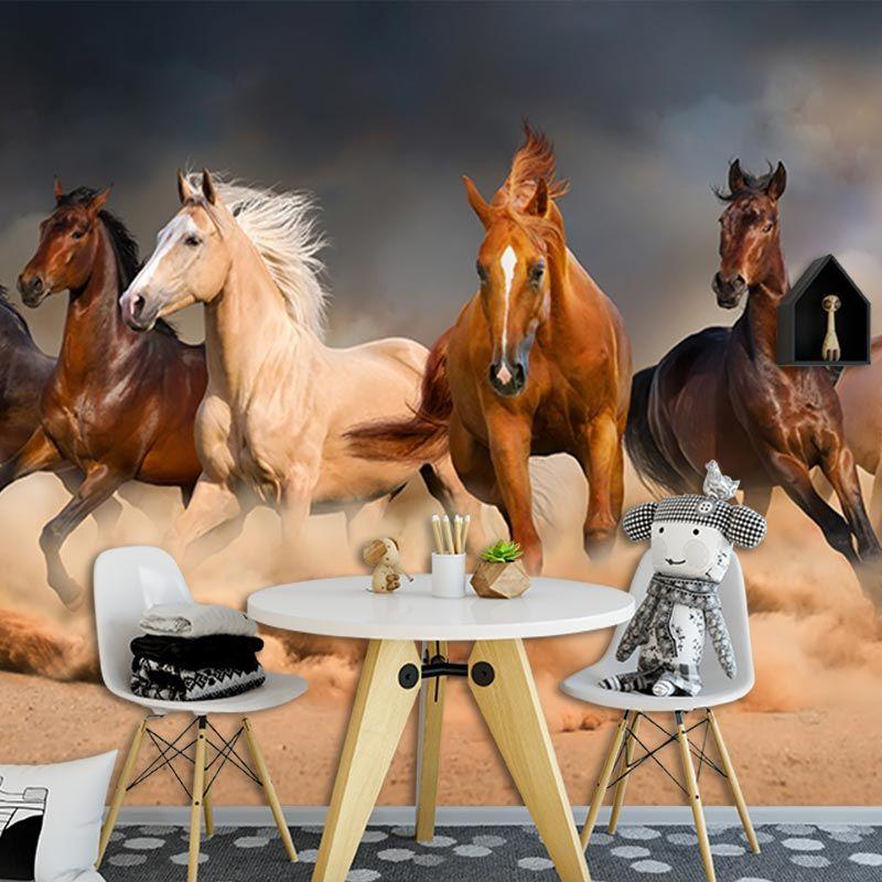 Fotobehang Galopperende Paarden Met Gratis Drukproef Youpri Nl Fotobehang Paarden Kinderkamer Paarden