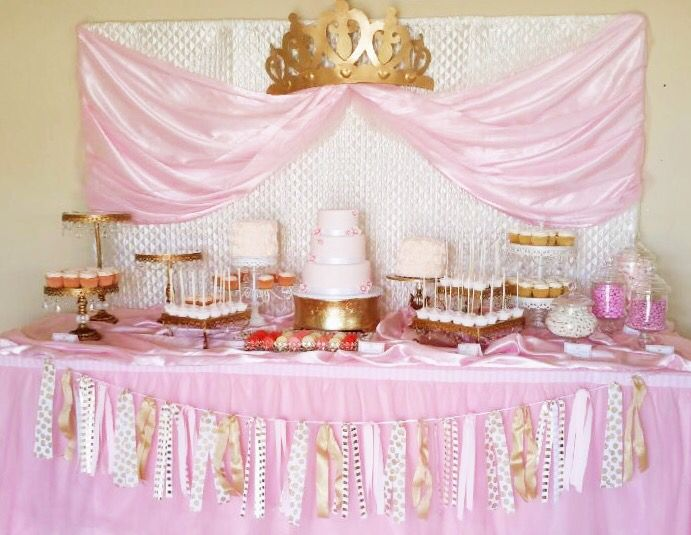 Pink U0026 Gold Princess Themed Dessert Table For A Baby Shower   Pretty Little  Showers